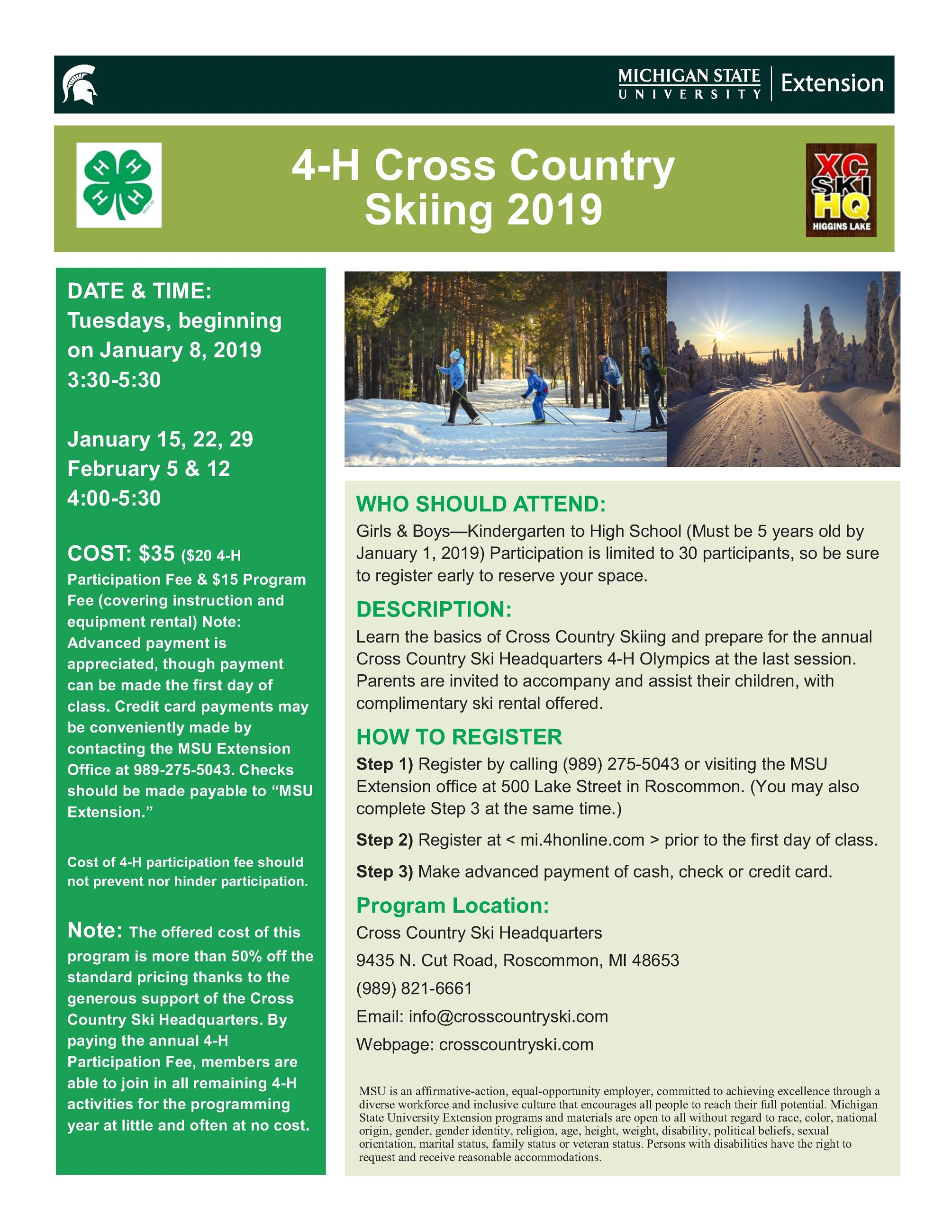4-H Cross Country Ski Flyer 2019